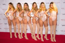 Heidi Klum arrived at her annual party with five clones of herself in tow
